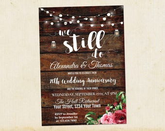 We Still Do Invitation, Wedding Anniversary Invitation, Anniversary Renewal Invitation, Vow Renewal Invitation, Wooden, Instant Download