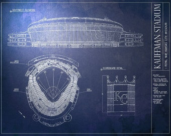KAUFFMAN STADIUM Blueprint - Kansas City Royals - Vintage Baseball Poster
