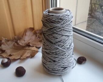 Cotton lace yarn on a cone bobbin yarn ribbon yarn tape yarn band yarn knitting yarn gray yarn black yarn cotton thread crochet cotton