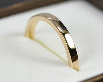 14K Yellow Gold 2 by 1.5mm Square Edge Ring, Tall Profile, 2mm Wide Wedding Band, Sea Babe Jewelry