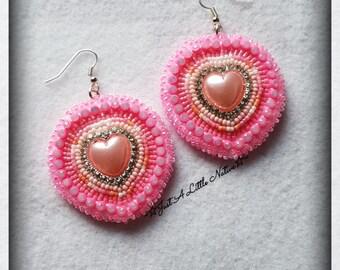Beaded Pink Heart Earrings