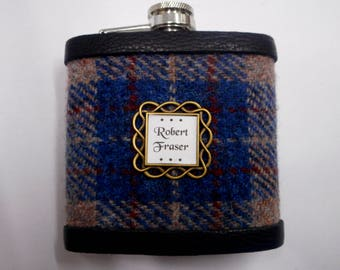 Personalised gift for him Harris Tweed hip flask with name in celtic setting, Scottish luxury gift for Christmas , birthday choose any tweed