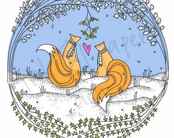 Woodland Valentines Foxes Love Card
