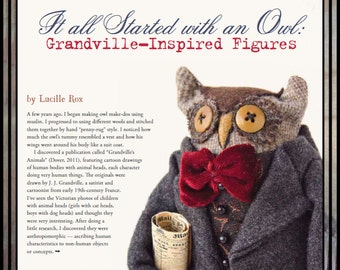 Prims folk art owl standing owl Banker owl wool owl make do HAFAIR ofg faap lucys lazy dayz