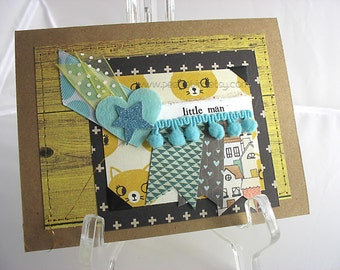 Little Man Handmade Gift Card~Boy Baby Shower Gift~Shooting Star Card~Boy Birthday Card~Unique Card~One of a Kind Card~Baby Boy Decor~Cats