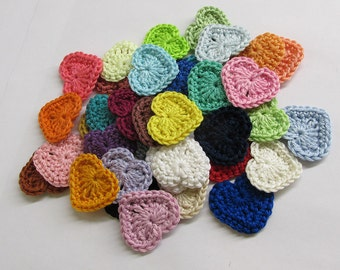 Crochet heart appliques 50 pc., choose Your colours, 1,3 inches