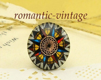 2 cabochons effect compass, 25mm glass domes