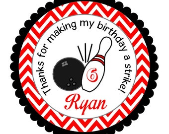 Bowling Pin Stickers, Personalized Bowling Labels, Bowling Birthday Party -- Set of 12