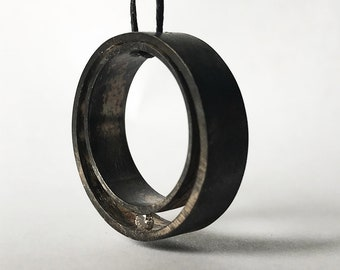 """Oxidized Sterling Silver and Diamond Pendant, """"Family Circle"""""""