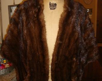 Vintage 60's Dark Brown Mink Fur Stole Cape Joseph Horne Co.