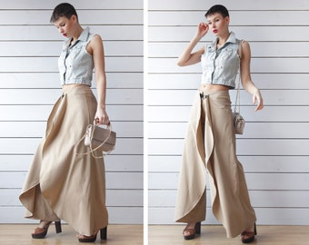 70s vintage beige cotton wide leg layered bell bottom flared skirt pants S M