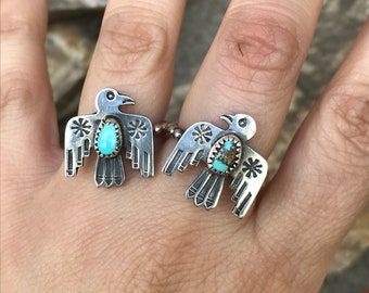 Turquoise Thunderbird Ring, Serlig Silver Ring, Thunderbird Ring, Turquoise Stacker, Turquoise Jewelry, Southwestern Jewelry, Gifts for Her