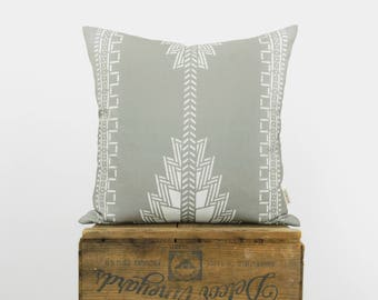 Gray and White Aztec Decorative Pillow Case, Cushion Cover | Southwestern, Navajo, Native American Hand Printed Pattern | Boho Decor