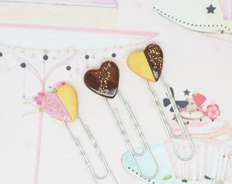 set of 3 paperclips hearts cookies