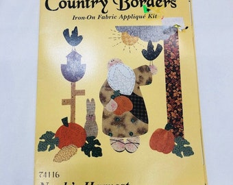 Vintage Harvest Country Borders Iron On Fabric Appliqué Kit. Noah's Harvest Pumpkin Fall Kit by What's New LTD
