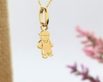 Little Boy Pendant Necklace, 14K solid Yellow Gold Charm Necklace Jewelry, Gift for kids, Gift for boy Birthday 14k Gold Necklace