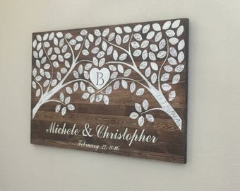 Trees and Leaves Wooden Guestbook