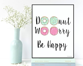 Donuts poster, Funny quote, Poster fun, Funny quote with donuts, Inspirational quote, Inspirational poster, Wall art decor, Quote prints