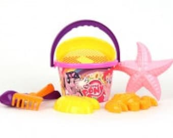 Sand set My little pony bucket, scoop, rakes, a strainer and 3 molds toys gift girls boys summer