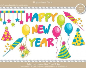 Happy New Year 1 Clipart (Digital Zip Download)