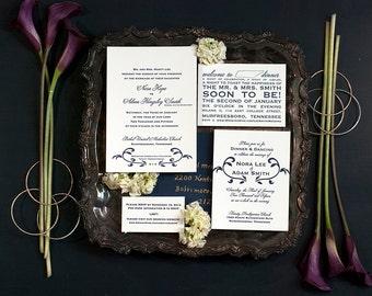 Letterpress Wedding Invitation SAMPLE PACKAGE | Traditional Wedding Invitations | Floral Wedding Invitation | Handmade Wedding Invitation