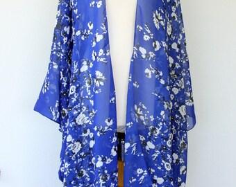 Blue kimono cardigan, swimsuit coverup, beach fashion, summer holiday gift, chiffon cover up, boho floral kimono jacket, plus size kimono