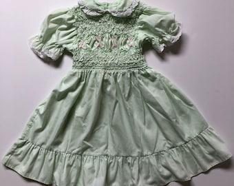 Vintage Polly Flinders Mint Smocked Dress (4t/5)