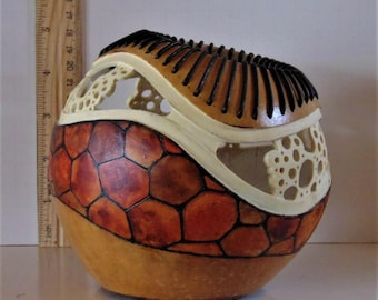 Original Hand Carved, Leather Laced, Painted Art Gourd Bowl