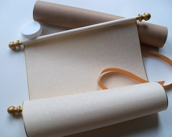 "Blank Parchment Scroll with Gold Accents, Wedding Vows Scroll with Storage Tube, Wide Blank Scroll for Handwritten Letter, 8x17"" paper"
