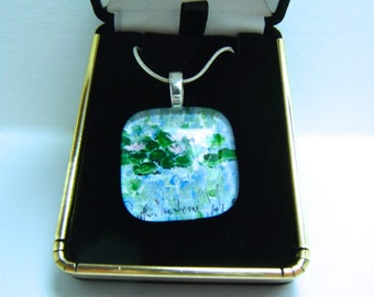 Water Lily Jewelry Flower Jewelry-Glass Pendant Art Jewelry Necklace Original Painting  Silver Bridesmaid Wedding Gift Box Mother's Day Gift