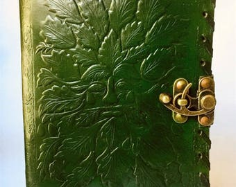 Leather Journal, Green Man Journal, Tree of Life, Leather notebook, Blank Leather Notebook