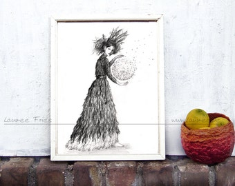 WITCH. Fine Art Giclee Print of a Pencil Drawing by Laumee. Fairy Tale Illustration. Black and white. Fantasy Wall Art. Fairytale