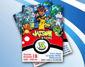 Pokemon/Pokemon Invitation/Pokemon Birthday/Pokemon Birthday Invitation/Pokemon Party/Pokemon Cards/Pokemon Download/Pokemon Invite