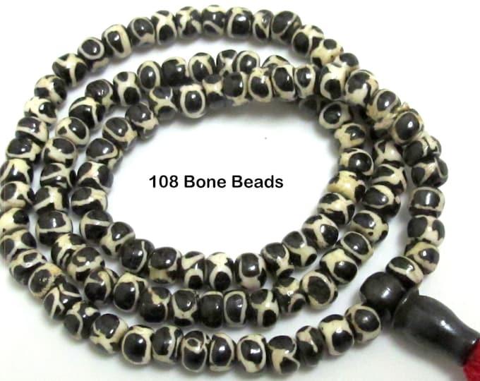 Tibetan circles eye 108 bone mala beads supply 6 mm to 7 mm size and Guru bead - ML012
