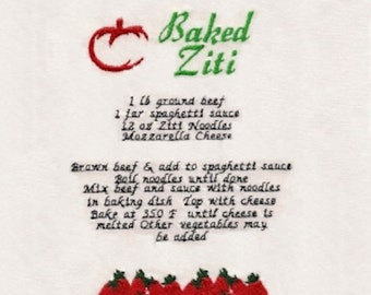 Baked Ziti Recipe Embroidery Design