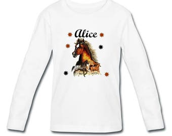 T-shirt long sleeve horse girl personalized with name