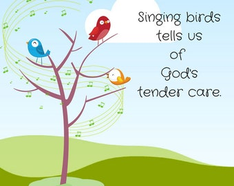 Singing Birds - Matthew 6:26 - JPEG Digital Download - PNG & PDF also available