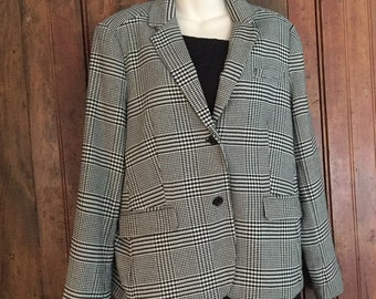 Alfred Sung black and white houndstooth jacket, XL,  1980s