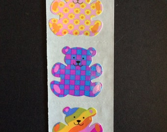 Sandyion vintage very rare shiny teddy bear stickers