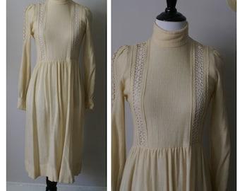Vintage 1970s Long Beige Wool Dress.  Long Sleeved.  Beautiful Stitching details.