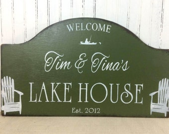 LAKE HOUSE sign, rustic Lake cabin sign,  cabin personalized sign, custom cottage sign, rustic lakeside home decor