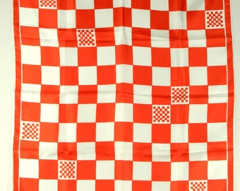 """Vera Neumann Vintage Scarf, Red and White Squares, Checks, Polyester, 22"""" Square 22147"""
