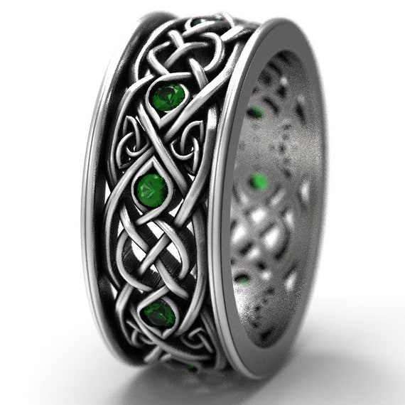 RESERVED FOR Kellien 3 Payments for Sterling Silver Celtic Wolf & Emerald Ring Set, Celtic Wolf Jewelry, Custom Ring Design 1170 1052 Size 6