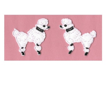 Poodle - Dog - Pink - Embroidered Iron On Patches - Set Of 2 - SMALL