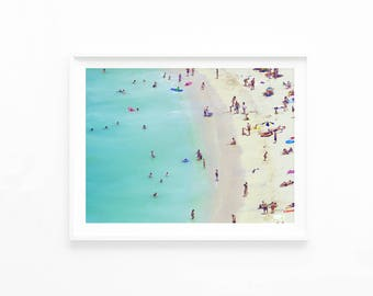 Printable Beach Photo, Aerial Beach Download Photography Wall Art Print, Beach Ocean Home Decor, Retro Style Vintage Poster Print, b2c2c