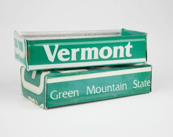 Office desk or garage Storage Tin Vermont license plate box organizer tool gift idea for Dad or Grandpa or Papa or Brother or Son or Grad