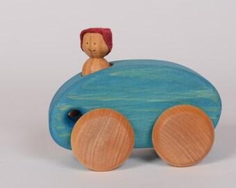 Blue wooden car, little wooden car by l'Atelier Cheval de bois