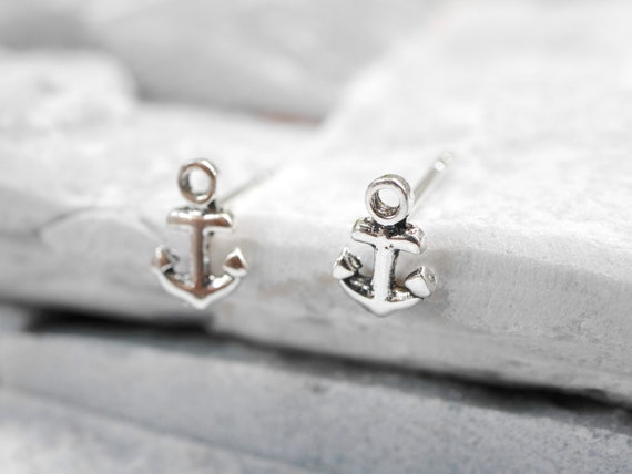 Minimalist silver anchor earrings