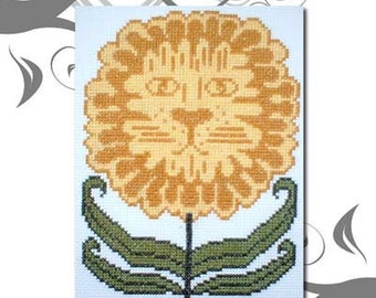 PDF E pattern emailed Flower Lion Cat Cross Stitch Pattern Sampler 36