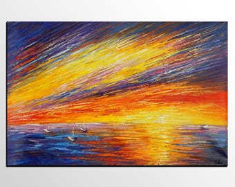 Abstract Painting, Oil Painting, Canvas Art, Original Artwork, Abstract Art, Large Wall Art, Canvas Painting, Sunrise Boat at Sea Painting